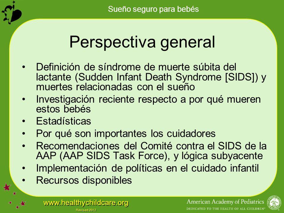 Perspectiva general Definición de síndrome de muerte súbita del lactante (Sudden Infant Death Syndrome [SIDS]) y muertes relacionadas con el sueño.